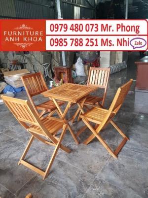 Bàn ghế cafe gỗ xếp giá tốt