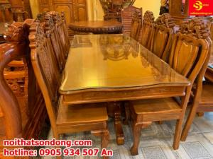 Bộ bàn ăn 8 ghế gỗ tự nhiên cao cấp giá tốt ở quận 7