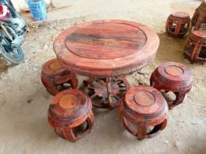 Bộ bàn ghế kiểu trống ngũ phúc gỗ trắc Việt Nam- Hàng hiếm giá sốc