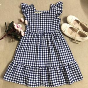 Đầm xòe bé gái caro xanh đen tay cánh tiên D04-XANHDEN