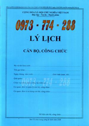 Quyển lý lịch cán bộ công chức Mẫu 1A-BNV/2008 ban hành kèm theo quyết định số 06/2008/QĐ-BNV ngày 18/6/2008 của bộ trưởng bộ nội vụ