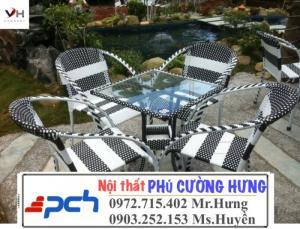 Bộ bàn ghế nhựa giả mây giá rẻ PCH121