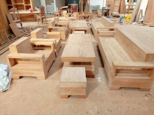 Bộ sofa kiểu Nhật gỗ gõ đỏ đơn giản - hiện đại -sang trọng