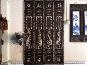 Bộ tranh tùng trúc cúc mai gỗ gõ mật xưa