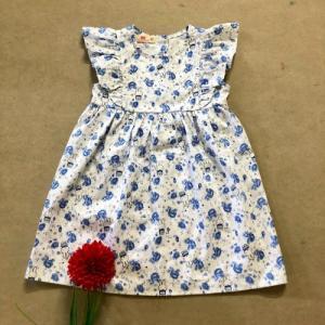 Đầm bé gái hoa nhí thỏ bông xanh tay cánh tiên D05-THOXANH