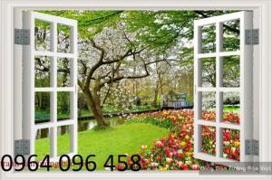 Gạch 3d ốp tường phòng khách tranh cửa sổ