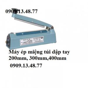 Máy hàn miệng túi nước mắm,nước tương, máy ép miệng túi dập tay PFS200