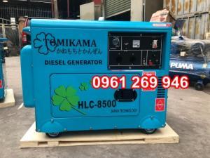 Máy phát điện chạy dầu Tomikama 8500 công suất 7kw có vỏ chống ồn, đề điện