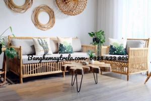 Bàn ghế sofa mây kiểu dáng đơn giản- hiện đại