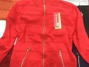 Áo khoác len phối dây kéo túi