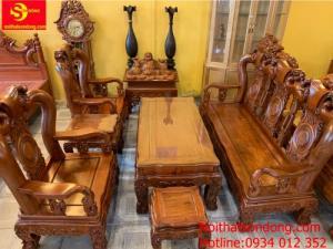 Bộ bàn ghế hương đá chạm đào đẹp vai cong cổ điển 6 món tay 12
