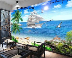 Tranh gạch men 3D - tranh thuyền buồm