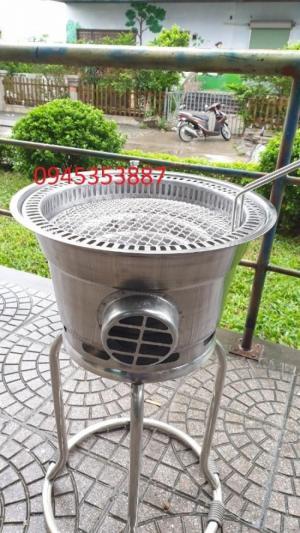 Bếp nướng than hoa không khói âm bàn Hàn Quốc hút âm dùng cho quán nướng lẩu