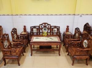 Bộ bàn ghế móc đá gỗ cẩm lai xịn 8 món