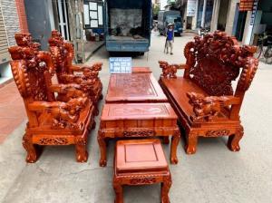 Bộ bàn ghế giả cổ nghê khuỳnh gỗ hương đá