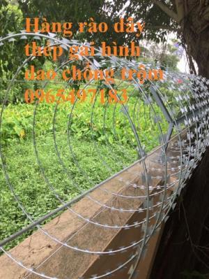 Dây gai tôn, dây thép gai hình dao, đường kính 35cm, 45cm, 60cm làm hàng rào