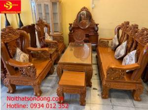 Bộ bàn ghế chạm nghê cột 14 gỗ gõ đỏ 6 món giá rẻ