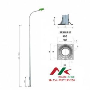 Cột thép BG (TC) cao 7mx3.5mm liền cần đơn vươn 1,5m