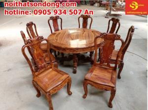 Bộ bàn ăn gỗ cẩm lai campuchia 8 ghế VIP tại Sài Gòn