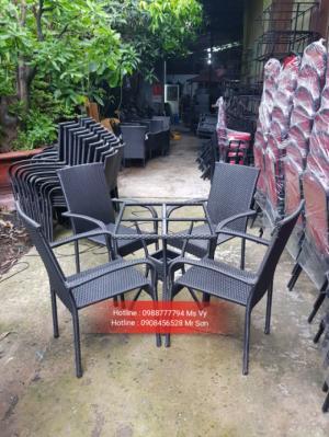 Bàn ghế cafe thanh lý giá rẻ ghế mây nhựa