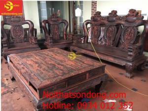 Bộ bàn ghế Minh quốc nghê cột 16 gỗ Trắc Việt Nam