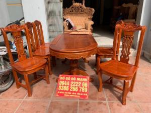 Bộ bàn ghế phòng ăn gỗ gõ đỏ mẫu đơn giản