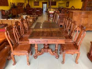 Bộ bàn ăn cẩm lai xịn 8 ghế bàn vuông