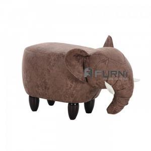 Ghế đôn thú cưng con cừu bọc vải chân gỗ hiện đại