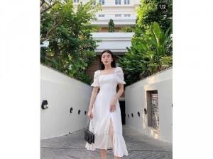 Đầm váy nữ midi trắng tay phồng đuôi cá