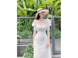 Đầm váy nữ midi cổ vuông tay phồng nơ
