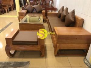 Sofa nêm da thời thượng kiểu mới gỗ gõ