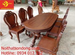 Bộ bàn ăn louis gõ đỏ 8 ghế màu cổ điển