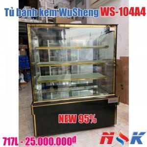 Tủ bánh kem kính vuông WuSheng WS-104A4 (4 tầng), ngang 1.2m
