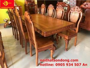 Bộ bàn ăn 8 ghế gỗ tự nhiên cao cấp giá tốt tại quận 7