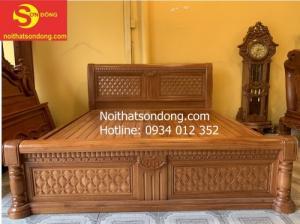 Giường ngủ hiện đại gỗ gõ đỏ nhóm 1 đẹp tại Tân Phú