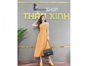 Đầm váy nữ maxi vàng 2 dây đan hơ lưng