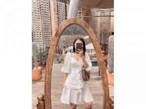 Đầm váy nữ trắng nhíu thân bèo giữa phồg