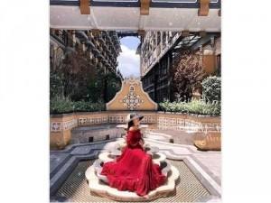 Đầm váy nữ maxi đỏ dài bẹt vai tay dài