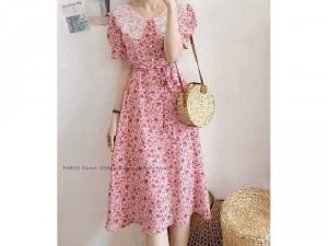 Đầm váy nữ hoa nhí hồng cổ ren trắng nơ
