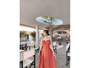 Đầm váy nữ 2 dây nút cam hở lưng