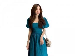 Đầm váy nữ midi xòe xanh cổ vuông nơ lưg