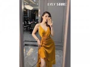 Đầm váy nữ vàng 2 dây lụa đắp bèo tà
