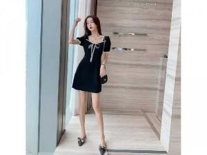 Đầm váy nữ đen cổ bèo nơ viền trắng