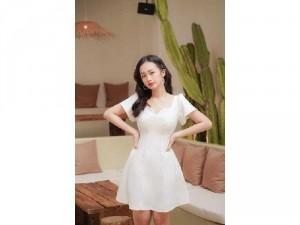 Đầm váy nữ cổ tim có 3 màu trắng đen đỏ