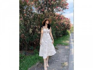 Đầm váy nữ trắng 2 dây nơ nút hoa cúc