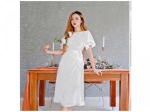 Đầm váy nữ trắng hoa cúc nhún tay tiên