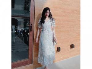 Đầm váy nữ hoa xanh cổ V bèo cao cấp