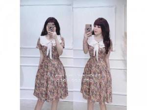 Đầm váy nữ hoa phối cổ vuông bèo