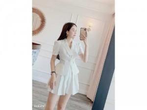 Đầm váy nữ trắng xòe cổ vest sang chảnh