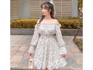 Đầm váy nữ trắng bẹt vai tay dài phồng